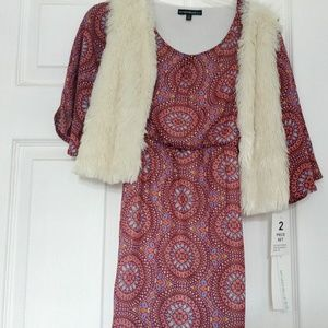 My Michelle Dress With Fuzzy Vest S 10 New